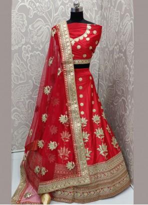 Art Silk Zari Red Lehenga Choli
