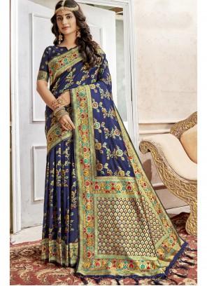 Blue Art Silk Zari Saree