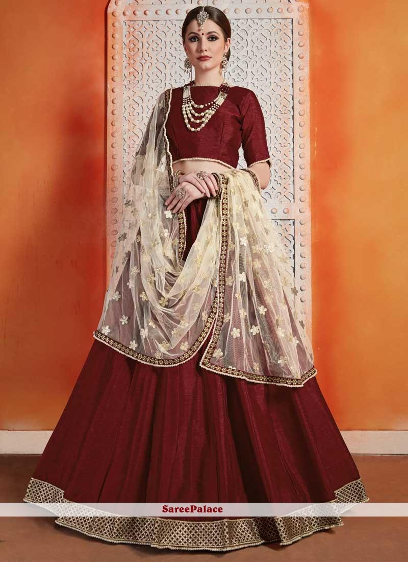 Art Silk Zari Trendy Designer Lehenga Choli in Maroon