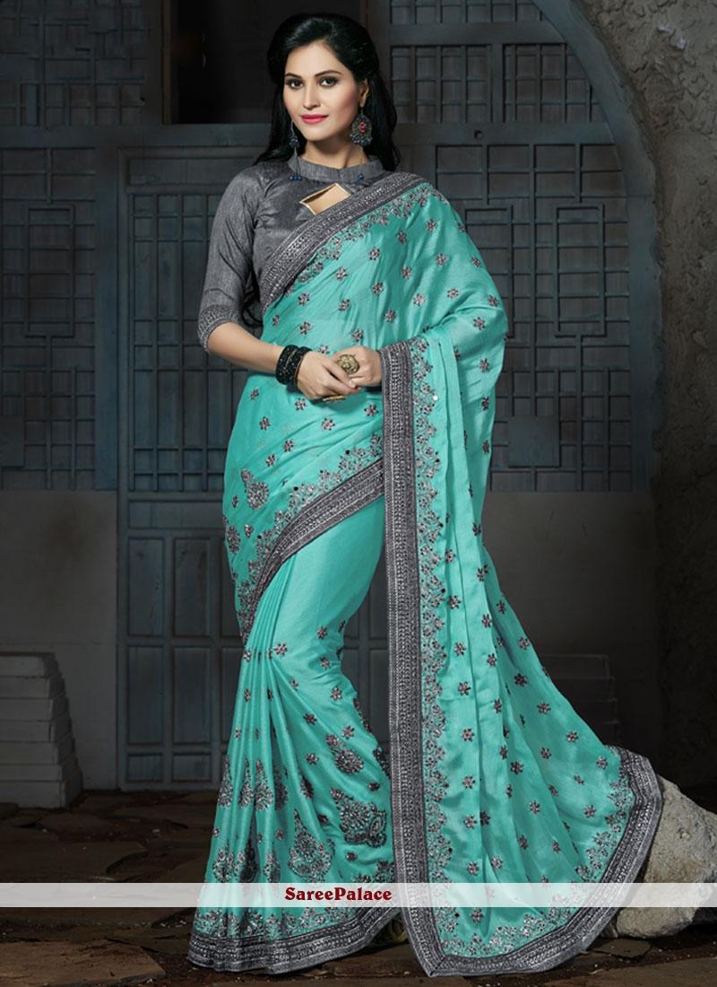 Artistic Chiffon Satin Embroidered Work Classic Designer Saree