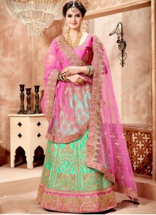 Artistic Satin Pink and Sea Green Lehenga Choli