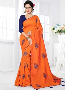 Aspiring Art Silk Orange Embroidered Work Traditional Designer Saree