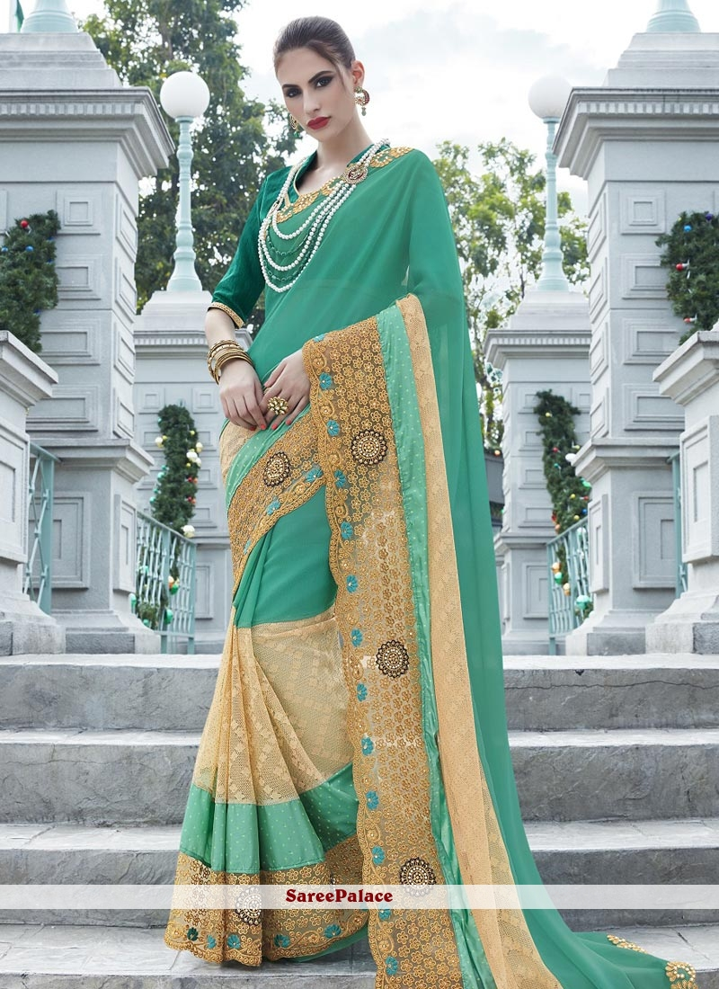 Aspiring Embroidered Work Net Designer Saree