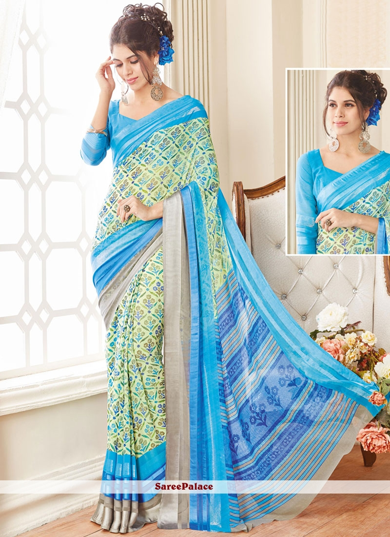 Aspiring Georgette Print Work Printed Saree