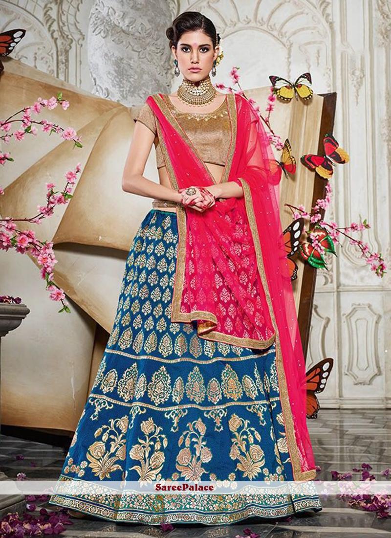 ac4a6d48fd Buy Aspiring Resham Work Banarasi Silk Lehenga Choli Online