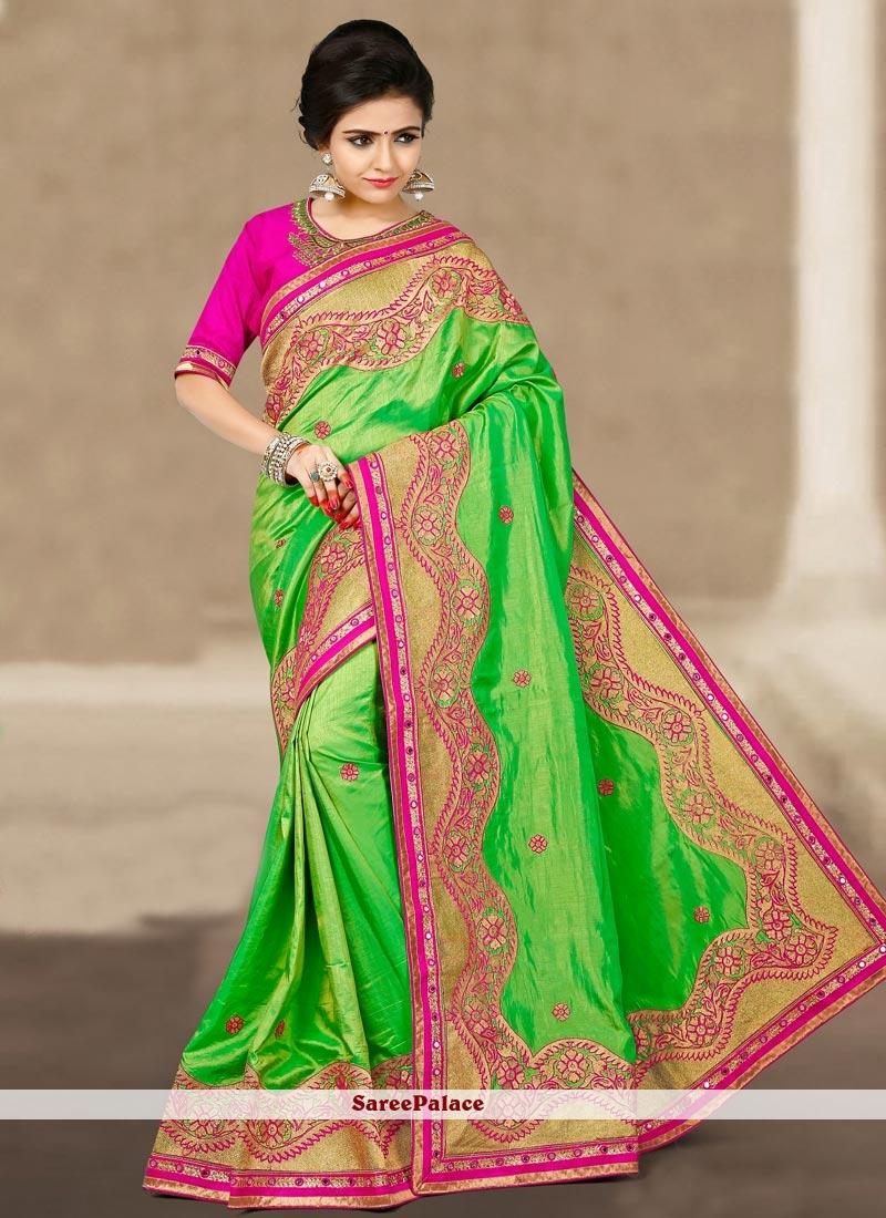 Astonishing Art Silk Green Traditional  Saree