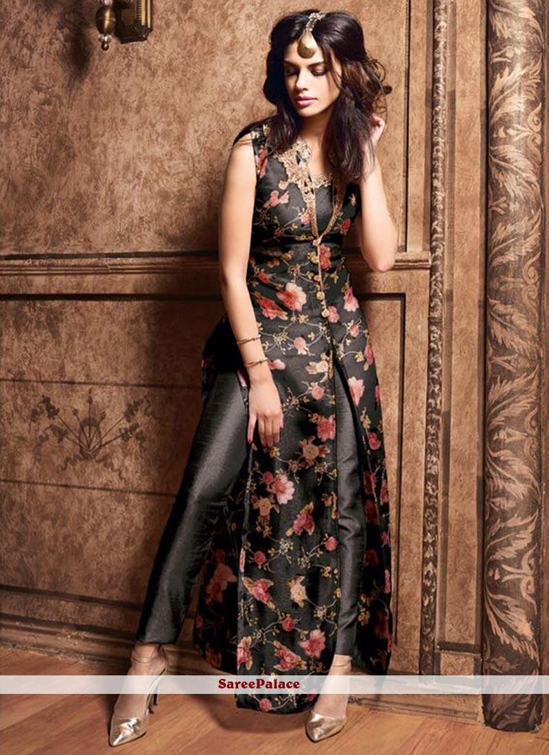 Digital Print Work Art Silk Black Pant Style Suit