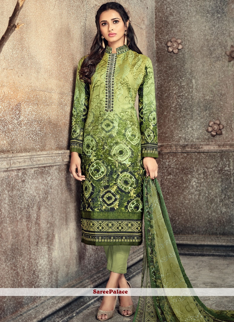 Astonishing Green Digital Print Work Pant Style Suit