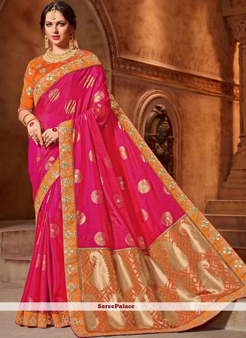 f0a7f685389996 Buy Astonishing Hot Pink Art Silk Traditional Saree Online