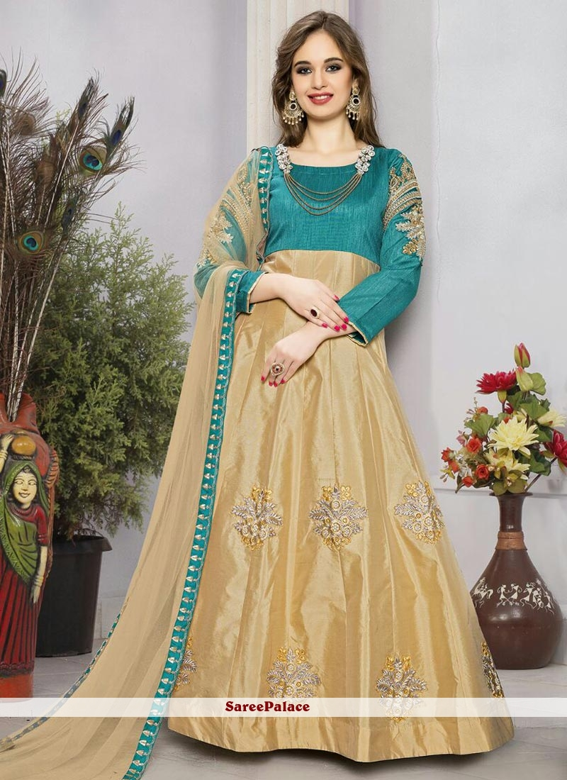 Astonishing Tafeta silk Beige and Turquoise Floor Length Anarkali Suit