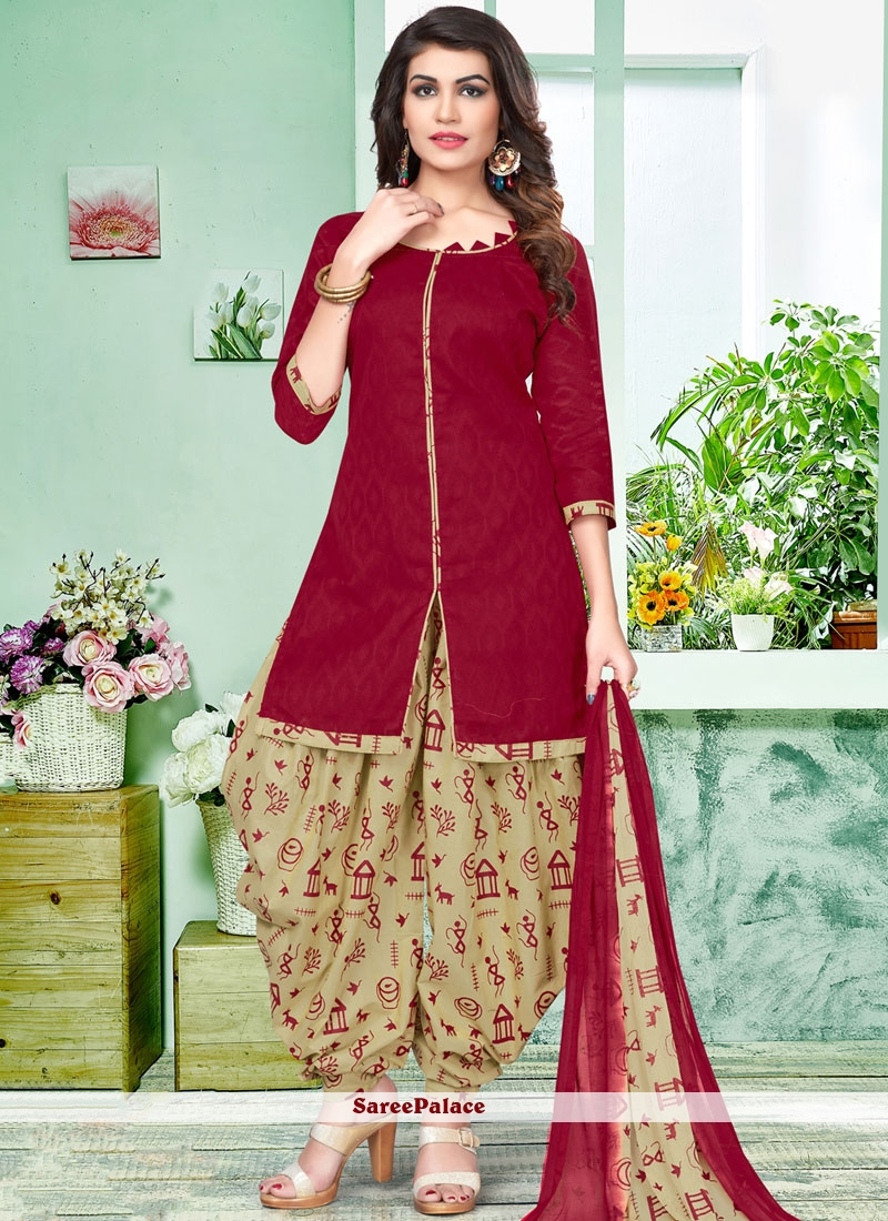 fb71ed70c7 Buy Astounding Cotton Beige and Maroon Patiala Salwar Suit Online