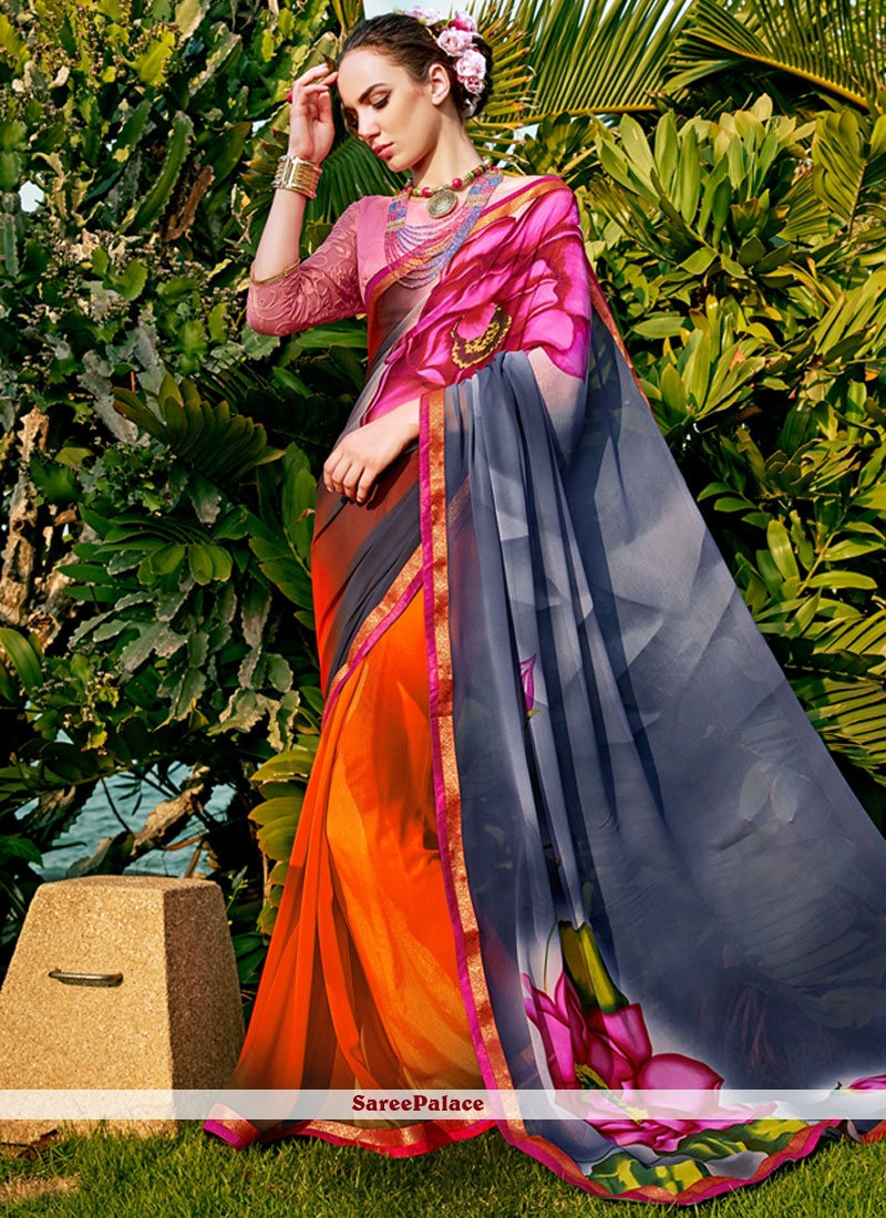Astounding Faux Georgette Multi Colour Printed Saree
