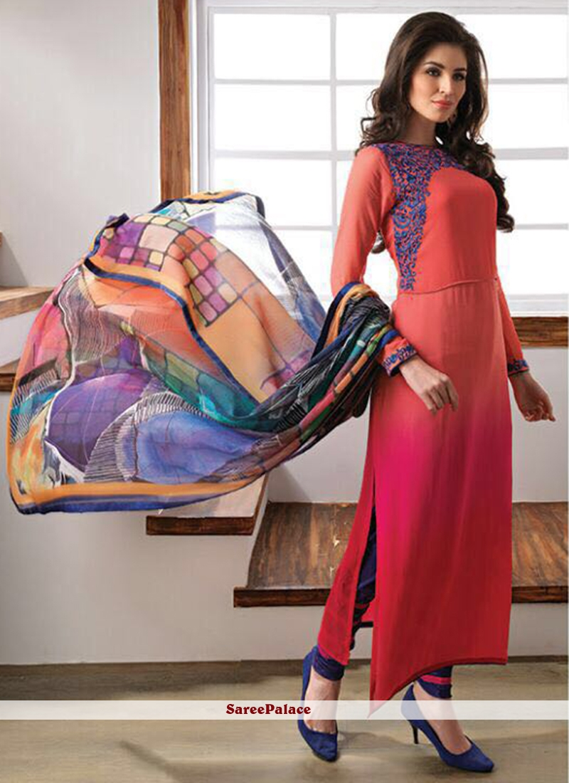 Astounding Multi Colour Embroidered Work Faux Georgette Churidar Designer Suit