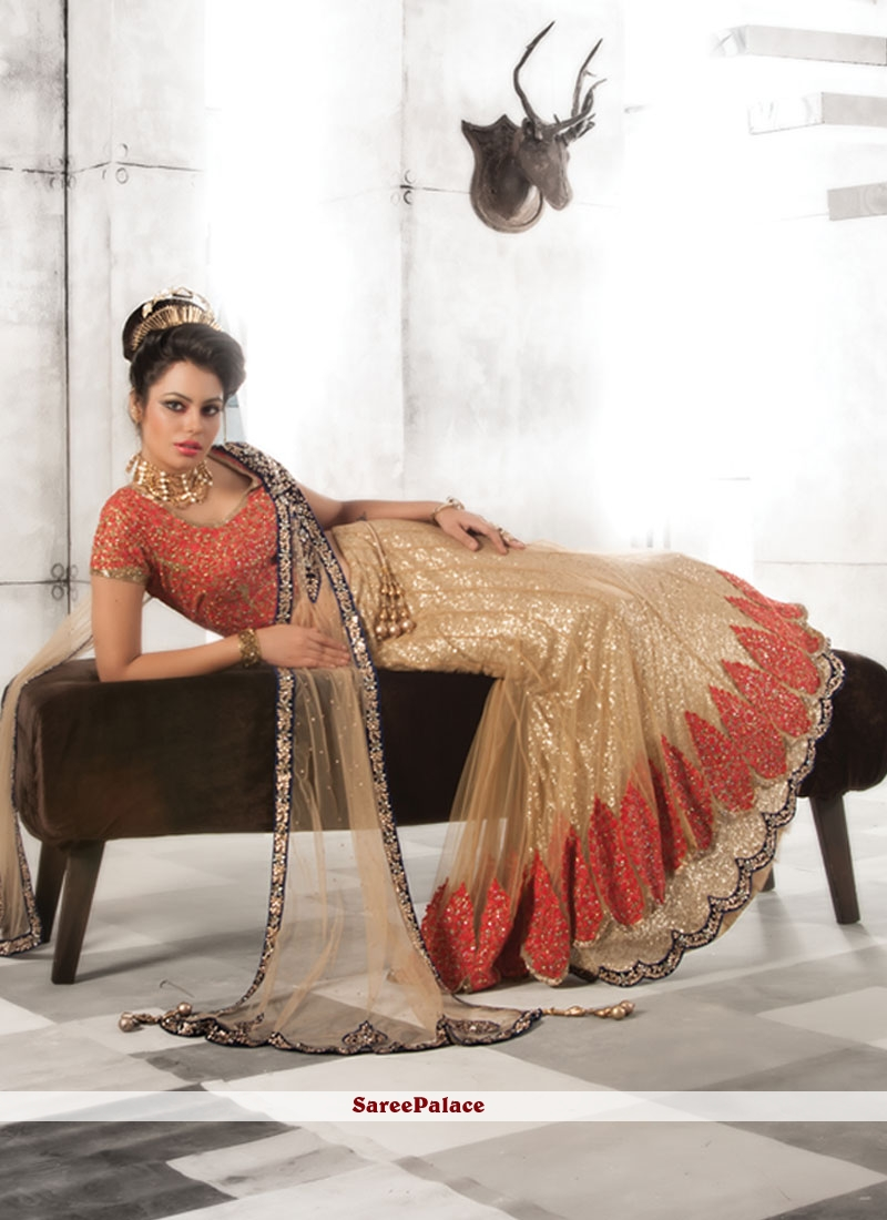 Astounding Net Beige Embroidered Work Lehenga Choli
