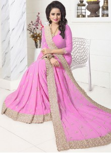 Astounding Resham Work Pink Saree