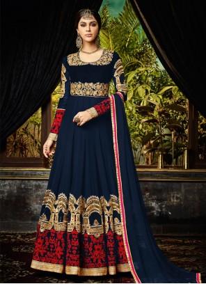 Attractive Georgette Embroidered Work Floor Length Anarkali Suit