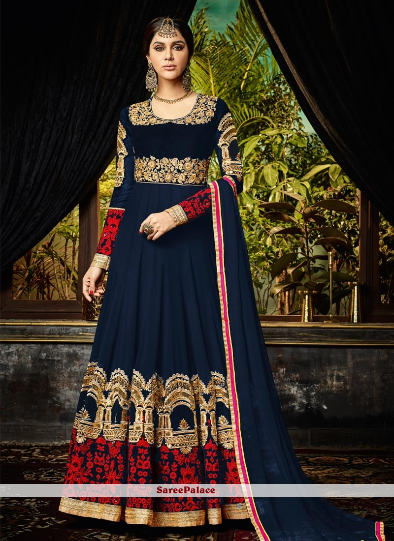 Attractive Georgette Embroidered Work Floor Length Anarkali Suit