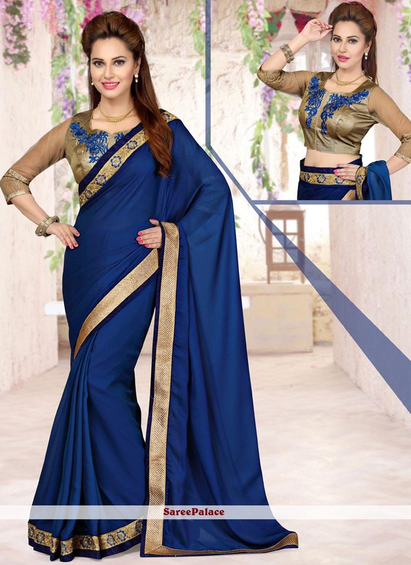 Attractive Navy Blue Classic Saree
