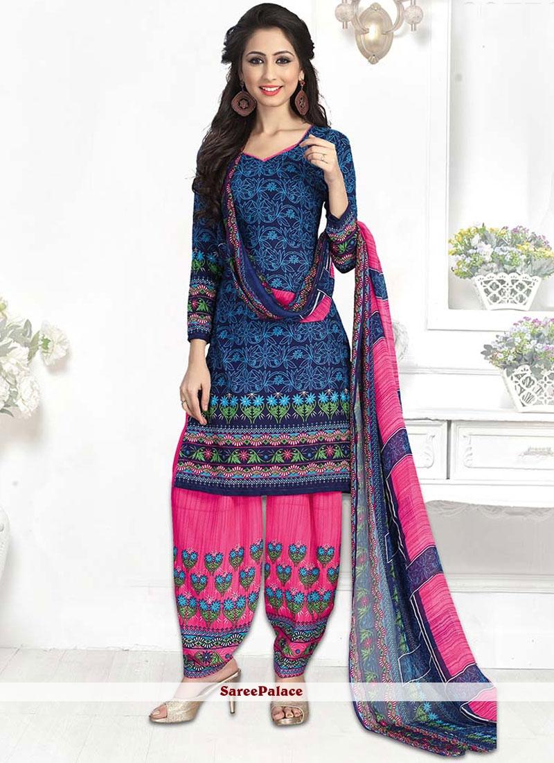 Attractive Print Work Churidar Suit