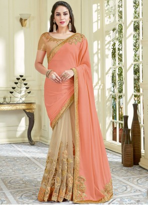 Auspicious Beige and Peach Embroidered Work Designer Half N Half Saree