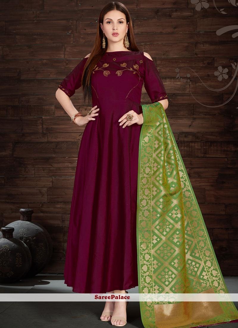 Auspicious Silk Embroidered Work Anarkali Salwar Kameez
