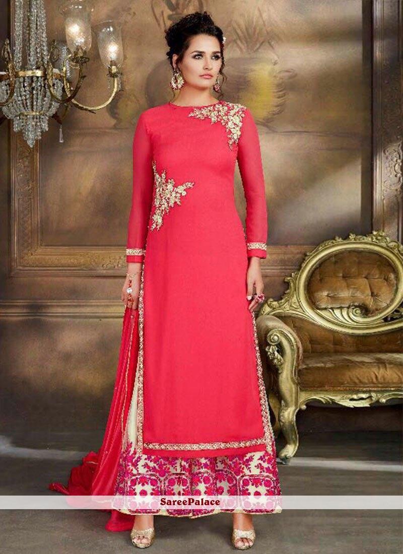 6c45c56ec2 Buy Awesome Hot Pink Super Net Designer Palazzo Suit Online