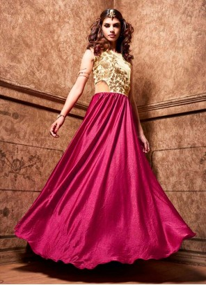 Awesome Magenta Designer Floor Length Suit