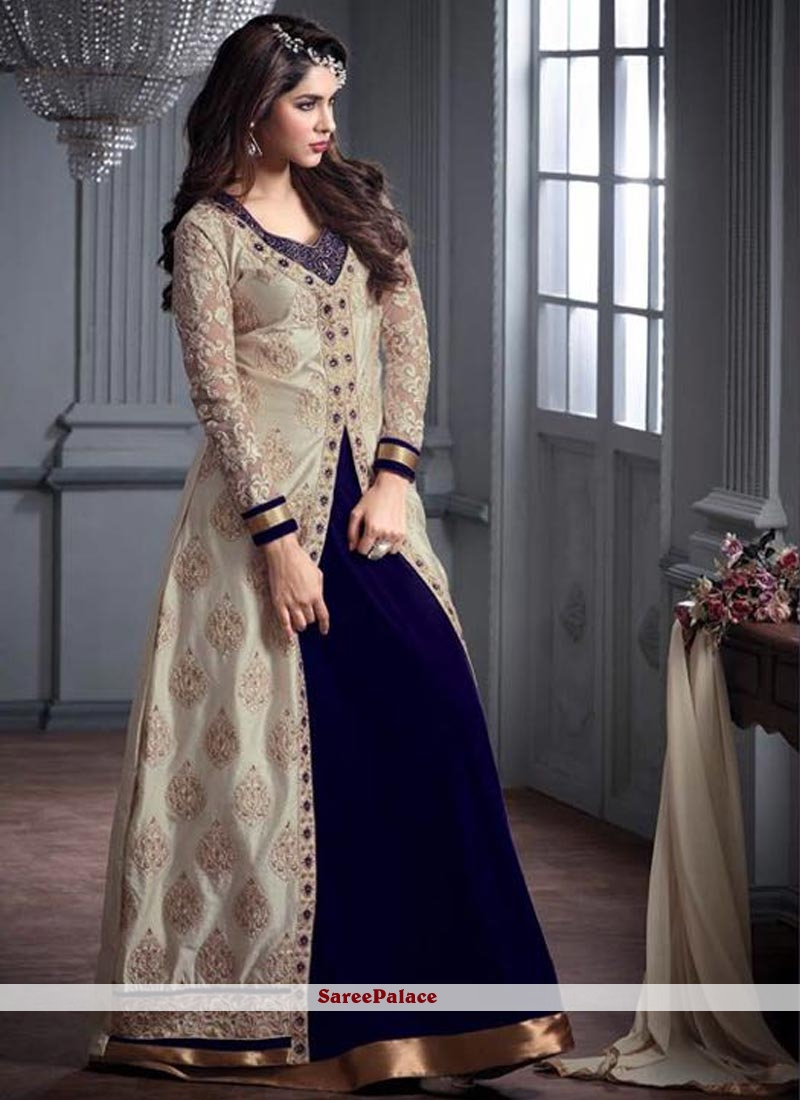 Awesome Navy Blue Resham Work Designer Floor Length Suit