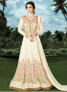 Awesome Resham Work Net White Floor Length Anarkali Suit