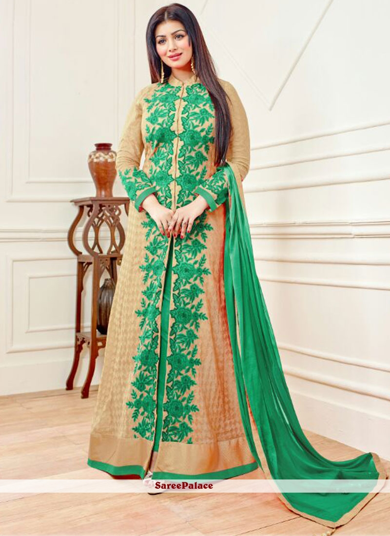 Ayesha Takia Beige and Sea Green Designer Floor Length Salwar Suit
