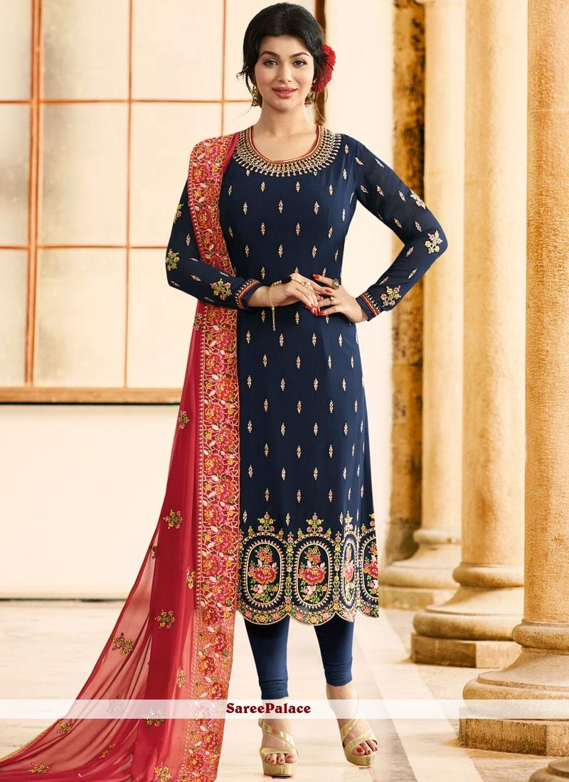 Ayesha Takia Blue Embroidered Work Churidar Designer Suit