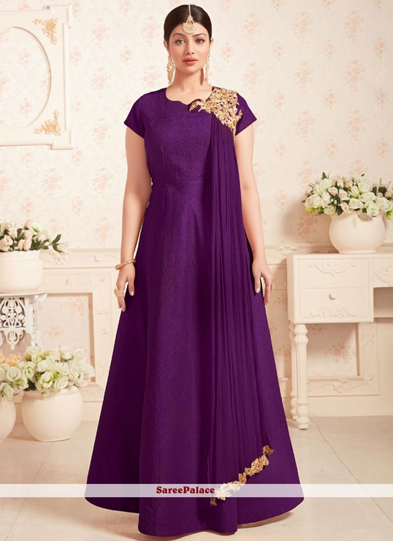 Ayesha Takia Embroidered Work Purple Art Silk Designer Floor Length Suit