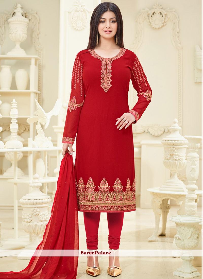 Ayesha Takia Embroidered Work Red Churidar Designer Suit