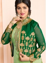 Ayesha Takia Green Faux Georgette Embroidered Work Jacket Style Suit
