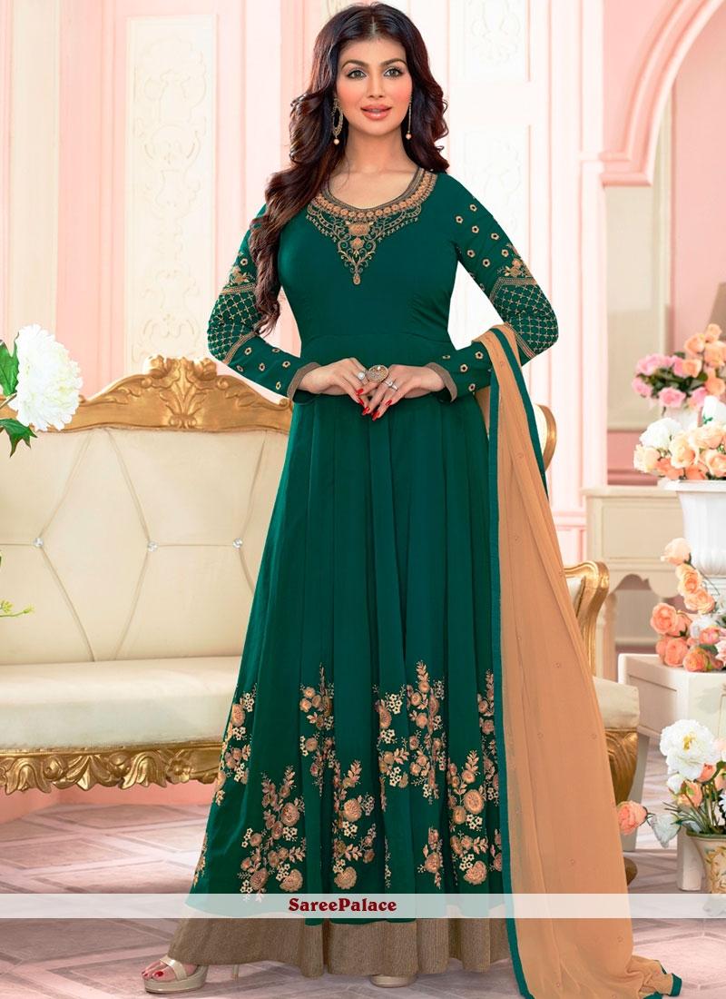 dbfdcfffb5 Buy Ayesha Takia Green Floor Length Anarkali Suit Online