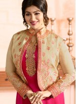 Ayesha Takia Hot Pink Faux Georgette Resham Work Jacket Style Suit