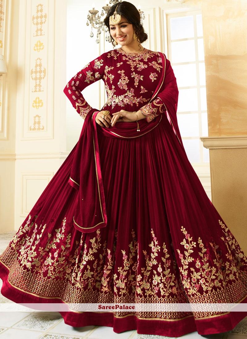 3048f81241 Buy Ayesha Takia Maroon Floor Length Anarkali Suit Online
