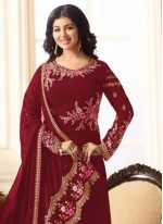 Ayesha Takia Red Embroidered Work Designer Straight Suit