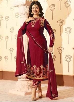 Ayesha Takia Resham Work Maroon Pant Style Suit