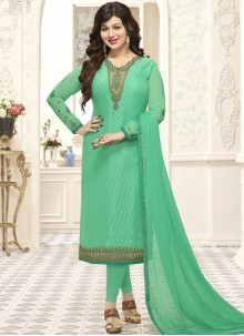 Ayesha Takia Sea Green Brasso Georgette Churidar Suit