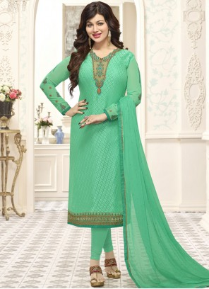 Ayesha Takia Sea Green Brasso Georgette Churidar Suit
