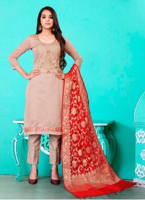 Banarasi Jacquard Beige Fancy Pant Style Suit
