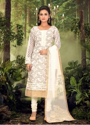 Banarasi Jacquard Cream Churidar Designer Suit