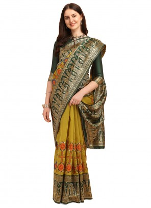 Banarasi Jacquard Embroidered Half N Half  Saree