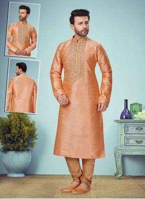 Banarasi Jacquard Embroidered Peach Kurta Pyjama