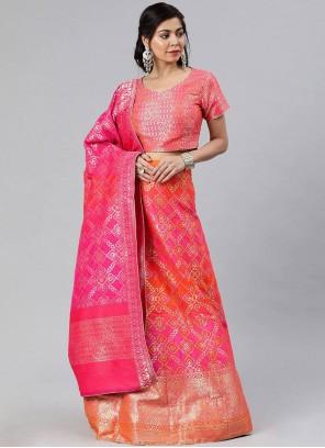 Pink Banarasi Silk A Line Lehenga Choli