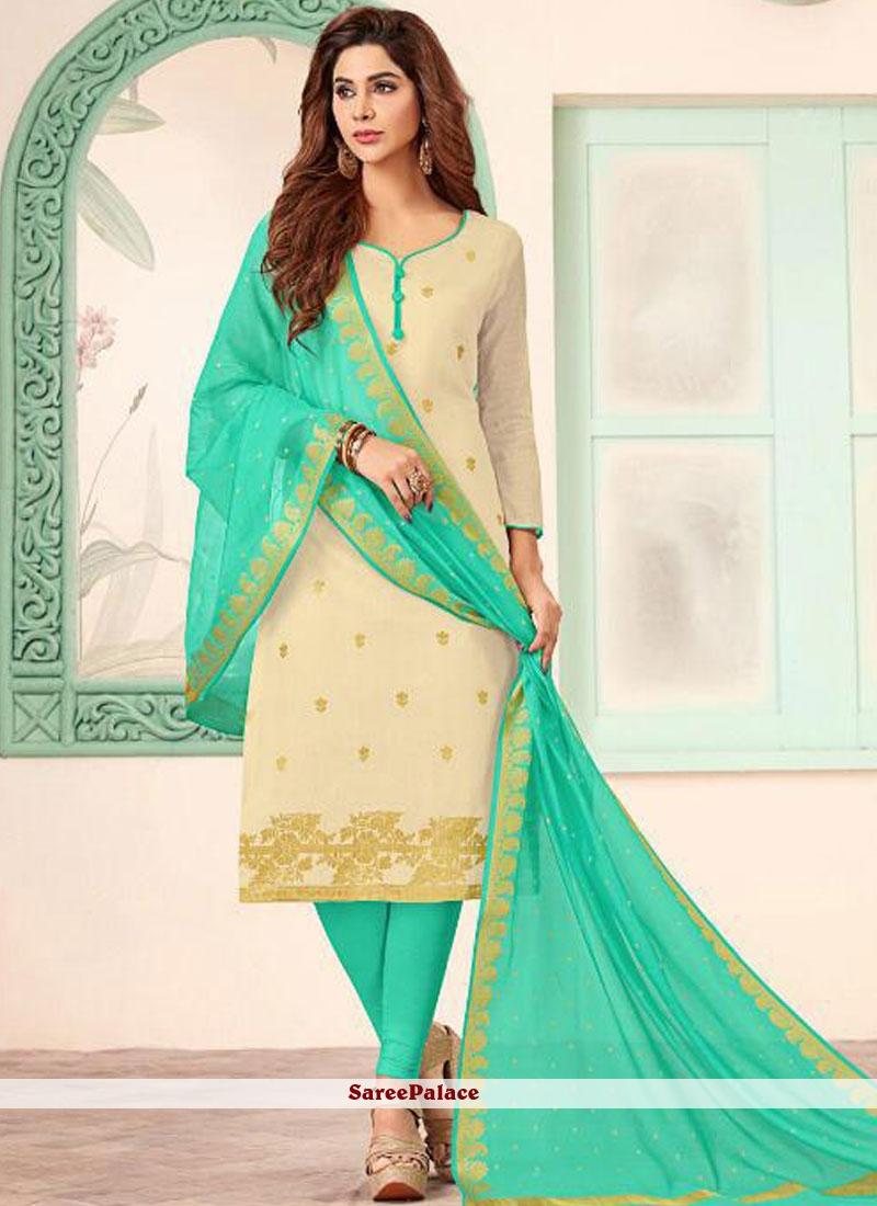 Banarasi Silk Abstract Print Churidar Salwar Kameez in Beige and Green