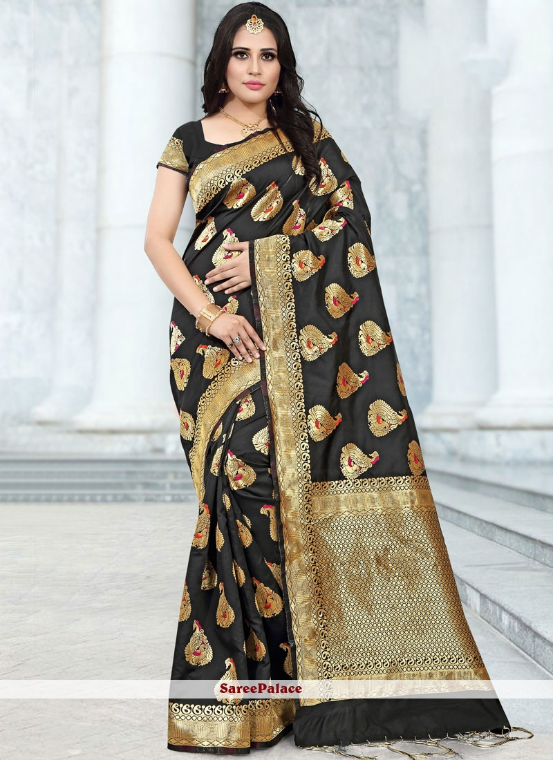 Banarasi Silk Abstract Print Classic Saree in Black
