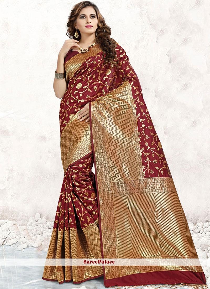 Maroon Banarasi Silk Abstract Print Designer Saree