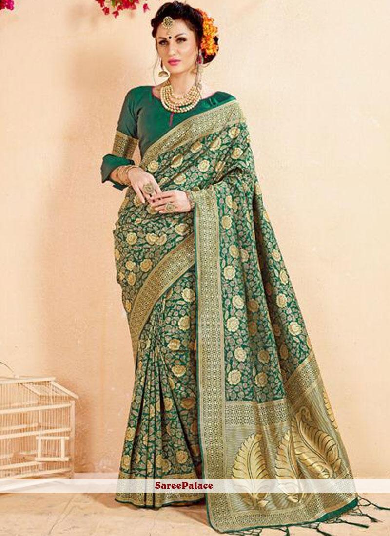 Banarasi Silk Abstract Print Green Designer Saree